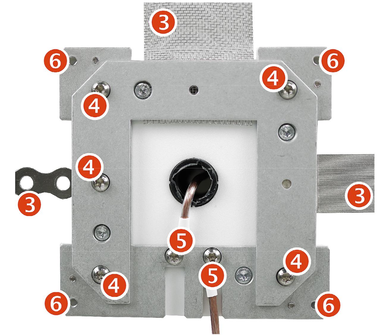 Les étapes de blindage YSHIELD® GF4   Boîtier de mise à la terre 120x120 mm pour peintures et tissus anti ondes HF+BF