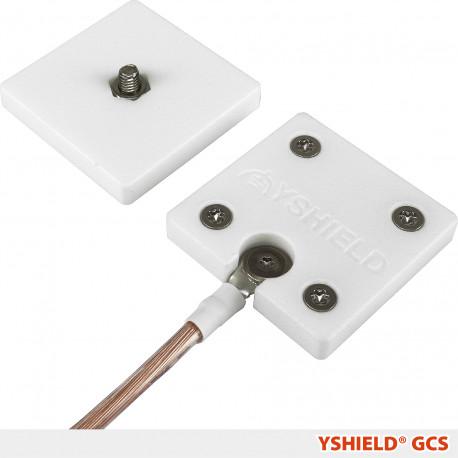 Explications de mise en œuvre : YSHIELD® GCS   Plaques de mise à la terre à vis pour toilles et tissus anti ondes de protection hautes et basses fréquences